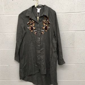 Esley high low tunic top dress size S Embroidered